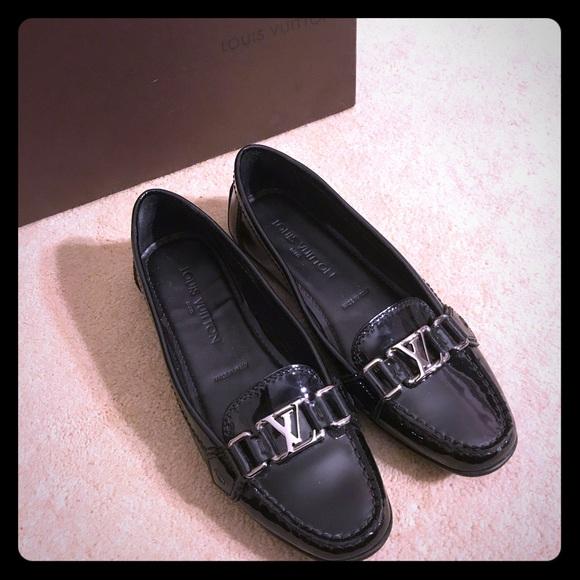 Louis Vuitton Black Leather Oxford Flat